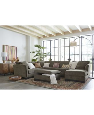 Elliot Fabric Microfiber 3Piece Chaise Sectional Sofa Created for