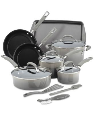 Rachael Ray Hard Enamel Nonstick Cookware Set, 14-pc - Red