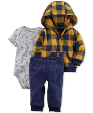 Carters 3Pc Check Fleece Hoodie Bodysuit  Pants Set Baby Boys (024 months)