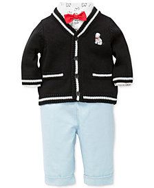 Little Me 3-Pc. Cotton Cardigan, Shirt Bodysuit & Pants Set, Baby Boys