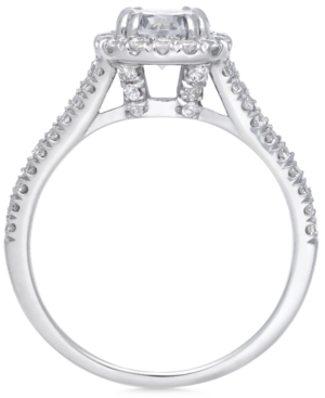 Certified Diamond Halo Engagement Ring (1-1/2 ct. t.w.) in 14k White Gold