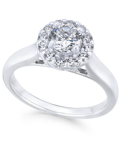 X3 Certified Diamond Engagement Ring (1 ct. t.w.) in 18k White Gold, Created for Macy's
