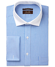 Tasso Elba Men's Slim Fit Non-Iron Twill Bar Stripe French Cuff Dress Shirt, Created for Macy's