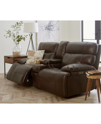 Barington Leather Sofa With Power Recliners Power Headrests And - Leather sofa reclining