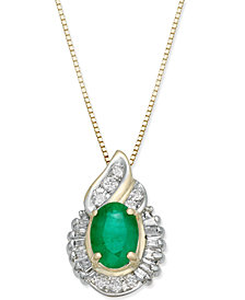 Emerald (3/4 ct. t.w.) & Diamond (1/5 ct. t.w.) Pendant Necklace in 14k Gold