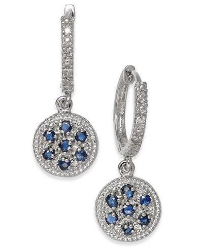 Sapphire (3/8 ct. t.w.) & Diamond Accent Disc Drop Earrings in 14k White Gold