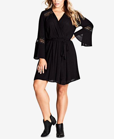City Chic Trendy Plus Size Lacey Bell-Sleeve Wrap Dress