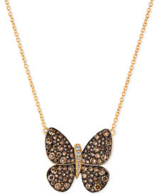 Le Vian Chocolatier® Diamond Butterfly Pendant Necklace (1-7/8 ct. t.w.) in 14k Rose Gold or Yellow Gold.