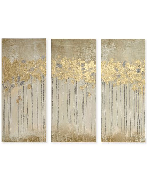 JLA Home Madison Park Sandy Forest 3-Pc. Gel/Foil-Embellished Canvas Print Set