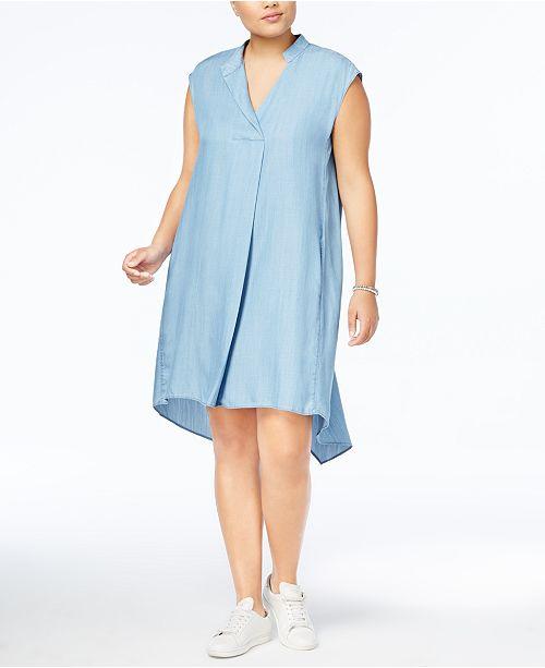RACHEL Rachel Roy RACHEL Rachel Roy Trendy Plus Size Cotton Chambray Shift Dress