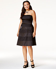 City Chic Trendy Plus Size Satin-Stripe Party Dress