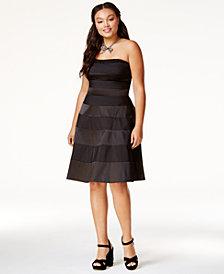 City Chic Trendy Plus Size Satin-Stripe Party Dress