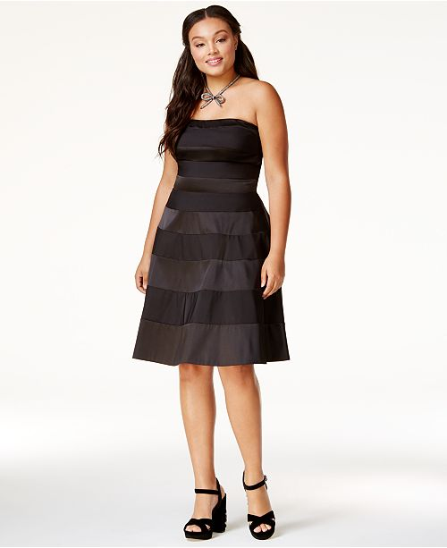 City Chic Trendy Plus Size Satin Stripe Party Dress Dresses Plus
