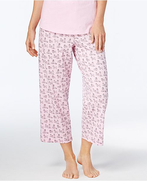 4ced53dbc8c9 ... Charter Club Printed Cotton Knit Cropped Pajama Pants, Created for  Macy's ...