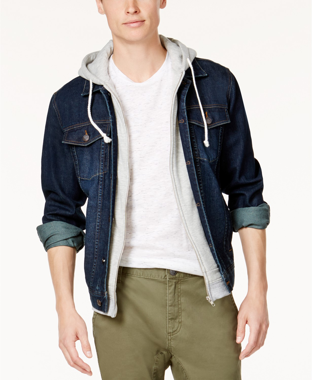 American Rag Mens Layered Hooded Denim Jacket