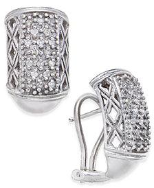 Diamond Cluster J-Hoop Earrings (1/4 ct. t.w.) in Sterling Silver