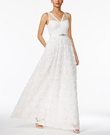 Adrianna Papell Embellished Floral-Applique Illusion Gown