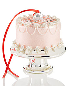 Holiday Lane Glass Pink Layer Cake on Pedestal Ornament, Created for Macy's