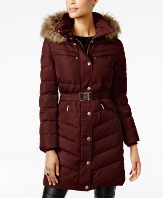 Faux-Fur-Trim Puffer Coat