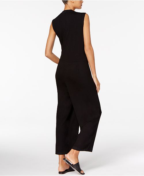 86618873764 Eileen Fisher Stretch Jersey Mock-Neck Cropped Jumpsuit   Reviews ...