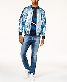 Men's Metallic Bomber Jacket, Colorblocked T-Shirt & Athlete Tapered Fit Jeans, Created for Macy's