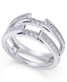 Diamond Channel-Set Solitaire Enhancer Ring Guard (1/2 ct. t.w.) in 14k White Gold