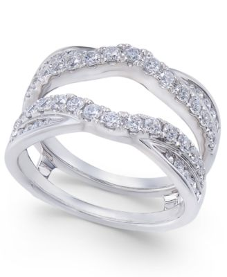 Diamond Curved Overled Solitaire Enhancer Ring Guard 1 Ct T W In 14k White Gold