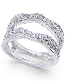 Diamond Curved Overlapped Solitaire Enhancer Ring Guard (1 ct. t.w.) in 14k White Gold