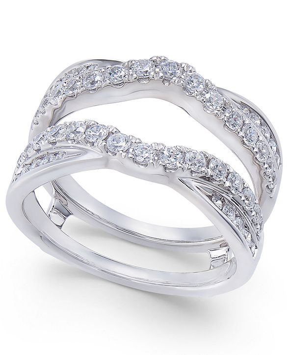 Macy's Diamond Curved Overlapped Solitaire Enhancer Ring Guard (1 ct. t.w.) in 14k White Gold