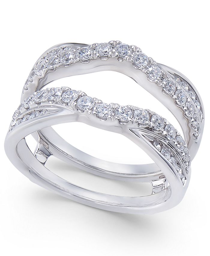 Macy's - Diamond Curved Overlapped Solitaire Enhancer Ring Guard (1 ct. t.w.) in 14k White Gold