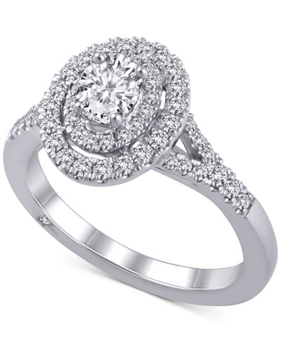 Diamond Oval Halo Ring (1 ct. t.w.) in 18k White Gold