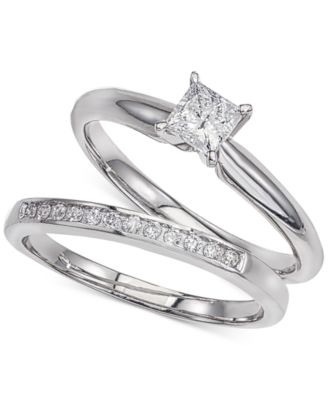Diamond Solitaire Bridal Set (1/2 Ct. T.w.) In 14k White Gold