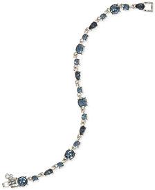 Givenchy Silver-Tone Blue Stone Flex Bracelet