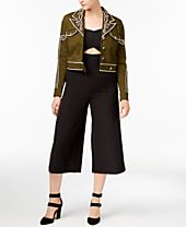 XOXO Juniors' Cropped Jacket & Culotte Jumpsuit