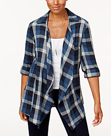 Style & Co Petite Cotton Plaid Completer Top, Created for Macy's