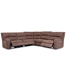 Brant 5-Pc. Fabric Sectional Sofa with 3 Power Recliners, Power Headrests and USB Power Outlet