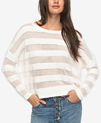 Roxy Juniors' Cotton Shadow-Stripe Sweater - Juniors Sweaters - Macy's