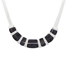 Nine West Silver-Tone Black Stone Collar Necklace