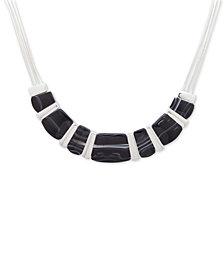 Nine West Silver-Tone Black Stone Collar Necklace