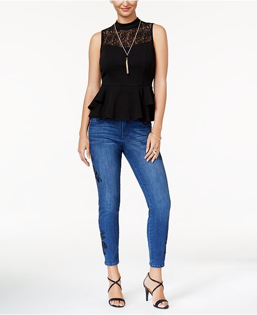 Thalia Sodi Lace-Trim Peplum Top & Embroidered Skinny Jeans, Created for Macy's