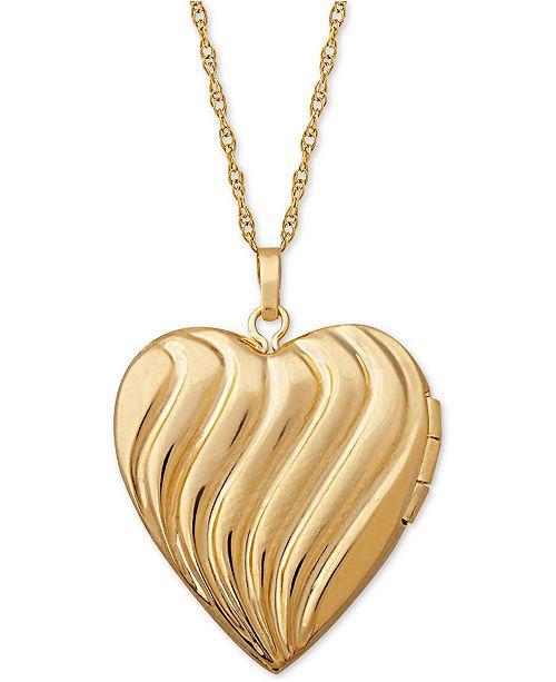 54fed42ceef9c Macy s Diamond Accent Heart Locket Pendant Necklace in 10k Gold ...