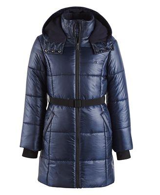 Calvin Klein Vail Hooded Belted Puffer Coat, Toddler Girls