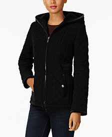 Laundry by Shelli Segal Quilted Velvet-Trim Jacket