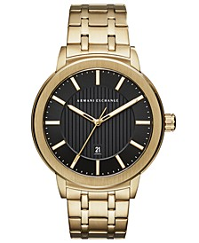 A|X Men's Maddox Gold-Tone Stainless Steel Bracelet Watch 46mm