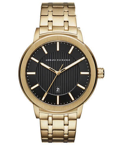 A|X Armani Exchange Men's Maddox Gold-Tone Stainless Steel Bracelet Watch 46mm