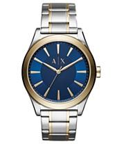 A X Armani Exchange Men S Nico Two Tone Stainless Steel Bracelet Watch 44mm