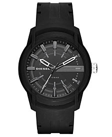 Diesel Men's Armbar Black Silicone Strap Watch 45mm