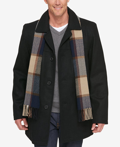 Tommy Hilfiger Melton Wool Walking Coat with Scarf - Coats ...