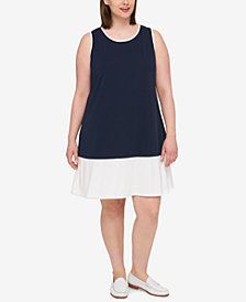 Tommy Hilfiger Plus Size Sleeveless Colorblocked Dress