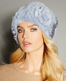 Rosette Knitted Rex Rabbit Fur Hat